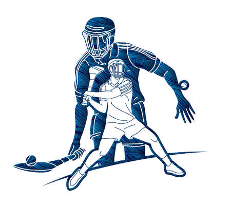 Group of Hurling sport players action. Irish Hurley sport cartoon graphic vector. Stock fotó - 161191173
