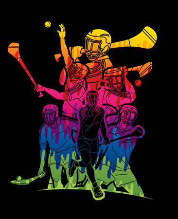 Group of Hurling sport players action. Irish Hurley sport cartoon graphic vector. Stock fotó - 161819313