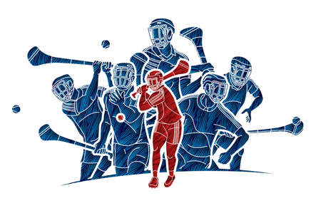 Group of Hurling sport players action. Irish Hurley sport cartoon graphic vector. Stock fotó - 161819314