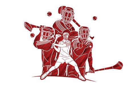 Group of Hurling sport players action. Irish Hurley sport cartoon graphic vector. Stock fotó - 161819248