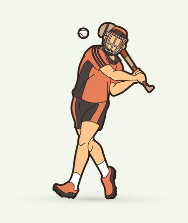 Irish Hurley sport. Hurling sport player action cartoon graphic vector. Stock fotó - 161920870