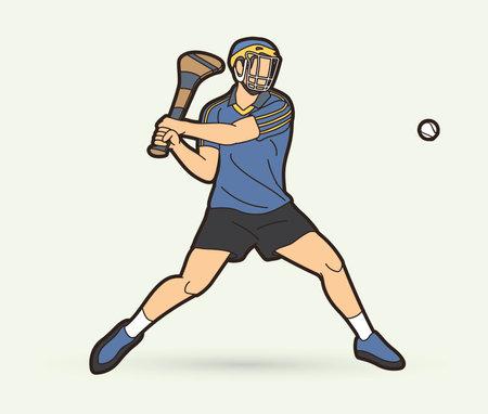 Irish Hurley sport. Hurling sport player action cartoon graphic vector. Stock fotó - 161920867
