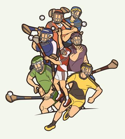 Group of Hurling sport players action. Irish Hurley sport cartoon graphic vector. Stock fotó - 161920868