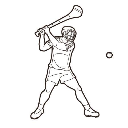 Irish Hurley sport. Hurling sport player action cartoon outline graphic vector.
