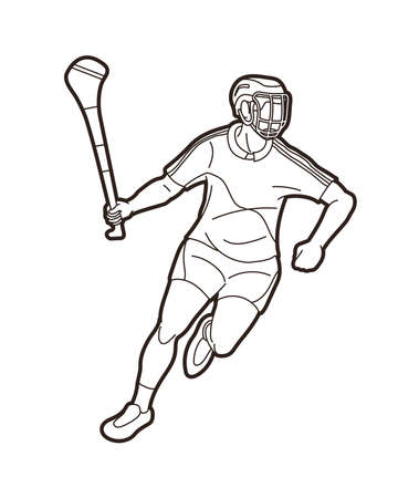 Irish Hurley sport. Hurling sport player action cartoon outline graphic vector. Stock fotó - 161920873
