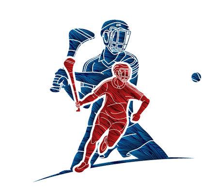 Group of Hurling sport players action. Irish Hurley sport cartoon graphic vector. Stock fotó - 161920871