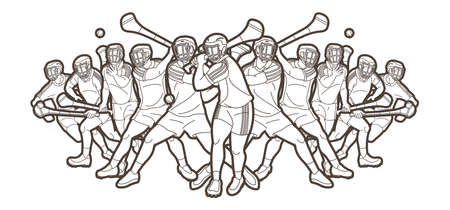 Group of Hurling sport players action. Irish Hurley sport cartoon graphic vector. Stock fotó - 161920877