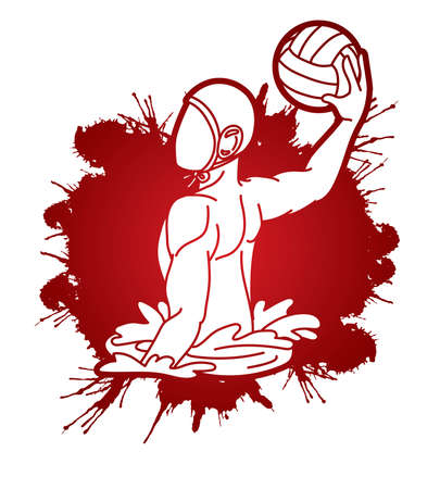Water polo players action cartoon graphic vector Stock fotó - 161920880