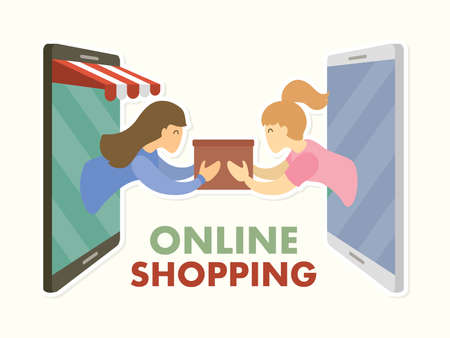Online shopping delivering cartoon graphic vector. Stock fotó - 162265300