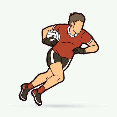 Gaelic Football male player cartoon graphic vector.