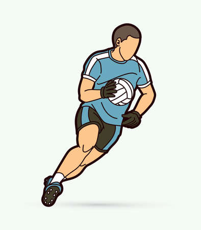 Gaelic Football male player cartoon graphic vector.