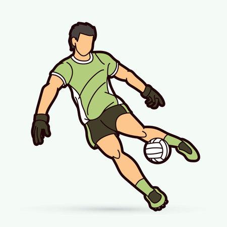 Gaelic Football male player cartoon graphic vector. Stock fotó - 162265307