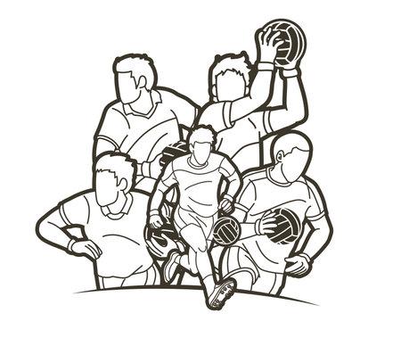 Group of Gaelic Football men players action cartoon graphic vector. Illusztráció