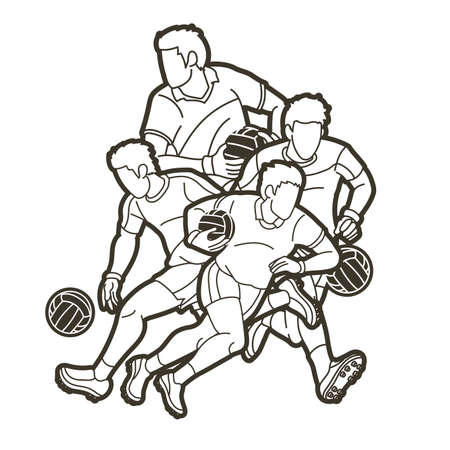 Group of Gaelic Football men players action cartoon graphic vector. Stock fotó - 162265316