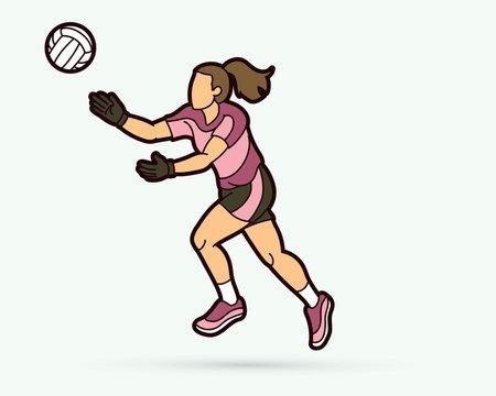 Gaelic Football female player cartoon graphic vector.
