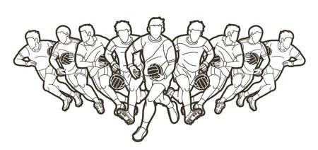 Group of Gaelic Football men players action cartoon graphic vector. Stock fotó - 162265319