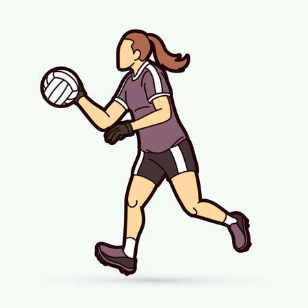 Gaelic Football female player cartoon graphic vector. Stock fotó - 162265322