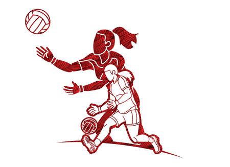 Group of Gaelic Football Women Players Action Cartoon Graphic Vector Illusztráció