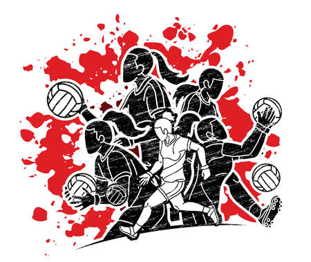 Group of Gaelic Football Women Players Action Cartoon Graphic Vector Stock fotó - 162265338
