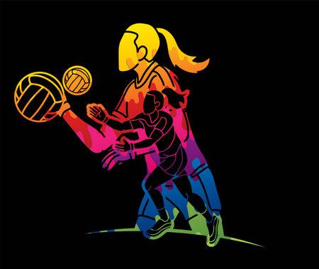 Group of Gaelic Football Women Players Action Cartoon Graphic Vector Stock fotó - 162265341