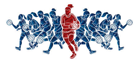 Group of Gaelic Football Women Players Action Cartoon Graphic Vector.