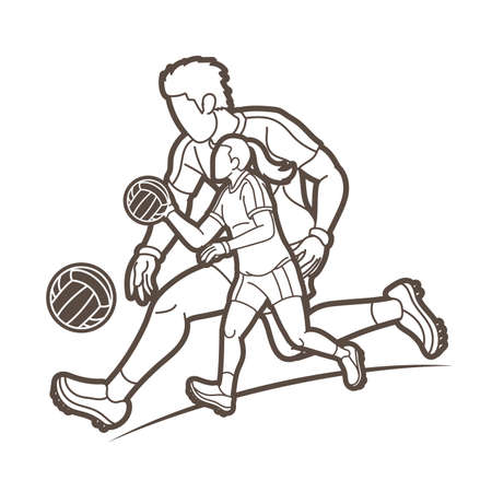 Gaelic Football Male and Female Players Action Cartoon Graphic Vector Vektorové ilustrace