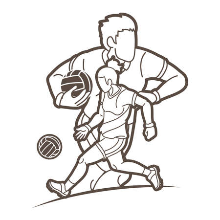 Gaelic Football Male and Female Players Action Cartoon Graphic Vector