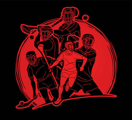 Irish Hurley Sport. Group of Hurling Sport Players Action. Cartoon Graphic Vector.