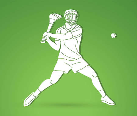 Irish Hurley Sport Cartoon Graphic Vector. Vektorové ilustrace