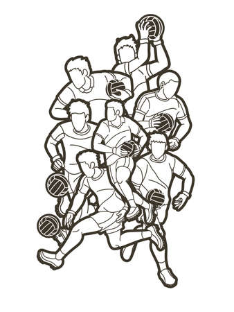 Group of Gaelic Football Men Players Action Cartoon Graphic Vector