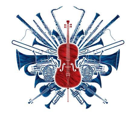 Orchestra Instruments Set Cartoon Graphic Vector Vettoriali