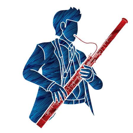 Bassoon Musician Orchestra Instrument Graphic Vector Vettoriali