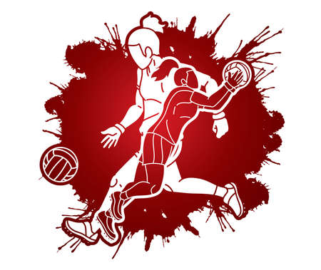 Group of Gaelic Football Female Players Sport Action Cartoon Graphic Vector.