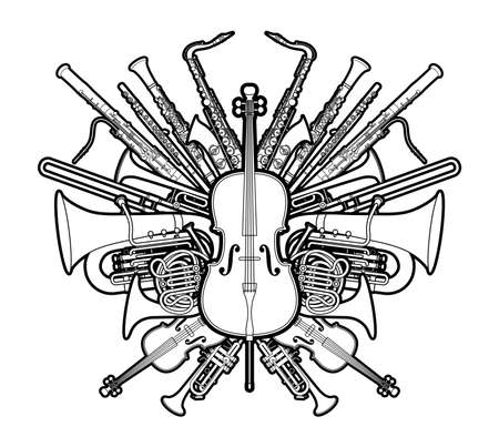 Orchestra Instruments Set Cartoon Outline Graphic Vector