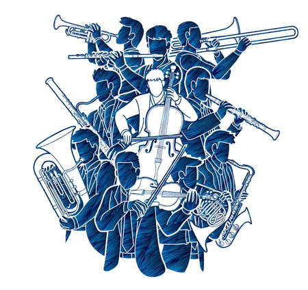 Group of Musician Orchestra Instrument Cartoon Graphic Vector Vettoriali