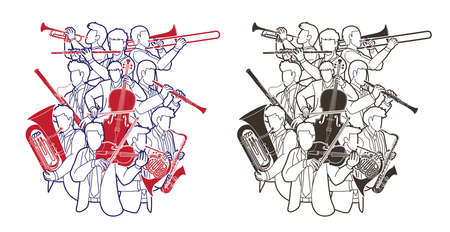 Group of Musician Orchestra Instrument Cartoon Outline Graphic Vector