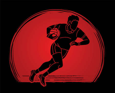 Gaelic Football Male Player Action Cartoon Sport Graphic Vector