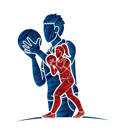 Bowling Sport Players Men and Women Pose Cartoon Graphic Vector Ilustrace