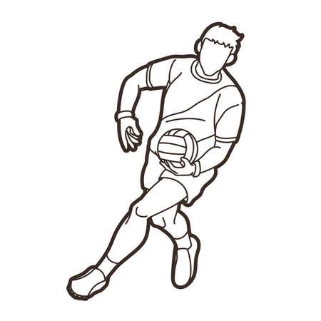 Gaelic Football Male Player Action Cartoon Sport Graphic Vector
