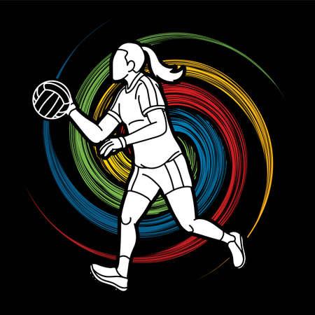 Gaelic Football Female Player Action Cartoon Graphic Vector