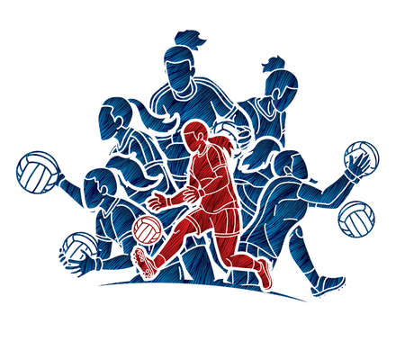 Group of Gaelic Football Female Players Sport Action Cartoon Graphic Vector. Ilustrace