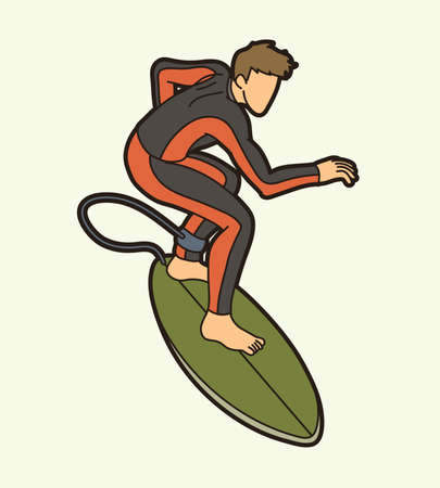 Surfing Sport Male Player Cartoon Graphic Vector