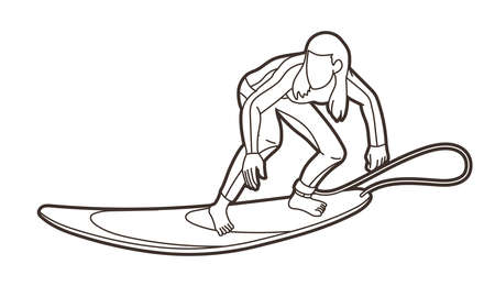 Surfing Sport Female Player Cartoon Outline Graphic Vector Ilustrace