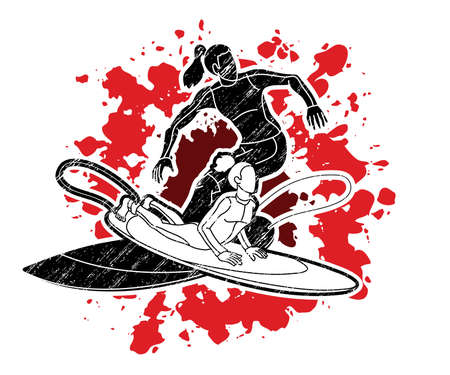 Group of Surfing Sport Women Players Action Cartoon Graphic Vector