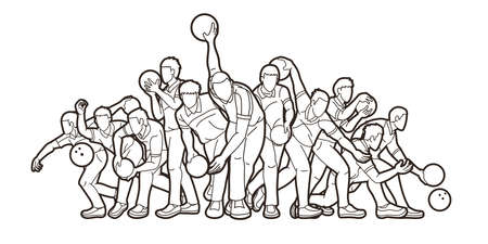 Group of Bowling Sport Male Players Action Cartoon Graphic Vector