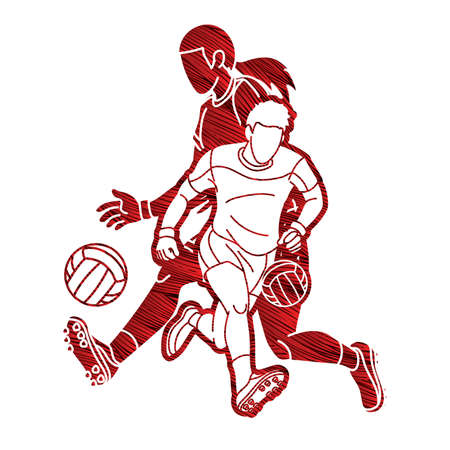 Group of Gaelic Football Male and Female Players Sport Action Cartoon Graphic Vector Ilustrace