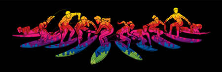 Surfer Action Group of Surfing Sport Male and Female Players Cartoon Graphic Vector