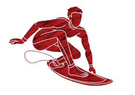 Surfer Surfing Sport Male Player Action Cartoon Graphic Vector