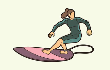 Surfer Surfing Sport Female Player Action Cartoon Graphic Vector Ilustrace