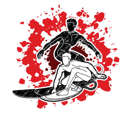 Group of Surfing Sport Men Players Action Cartoon Graphic Vector